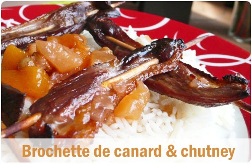 Brochettes de magret chutney p ches poires chefnini for Prima cuisine gourmande