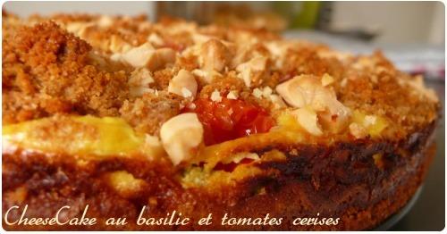 Cheesecake au basilic et tomates cerises