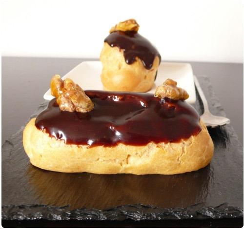 Eclairs la banane gla age chocolat et noix caram lis es chefnini - Glacage chocolat pour eclair ...