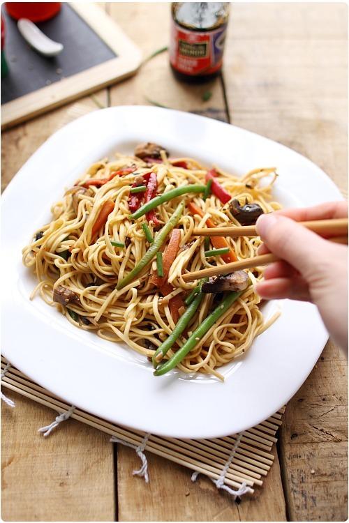 Nouilles chinoises saut es aux l gumes chefnini - Cuisiner des pates chinoises ...