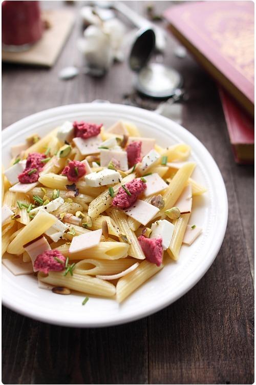 salade de p 226 te feta au pesto de betterave chefnini