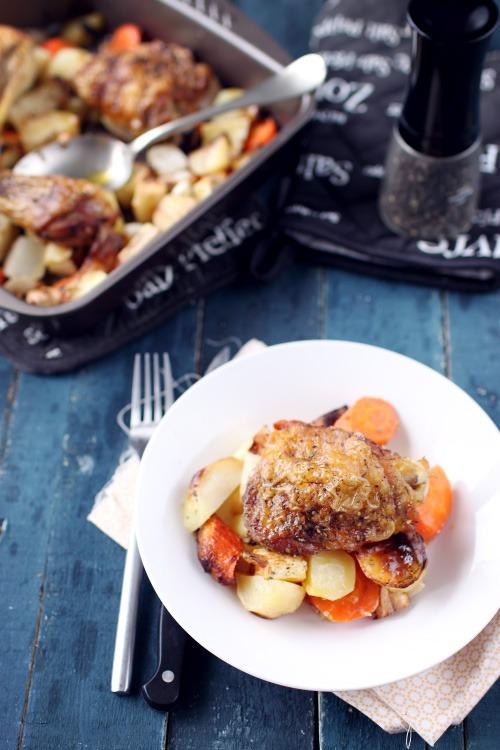 Cuisses de poulet et l gumes vari s au four chefnini - Cuisse de poulet grille au four ...