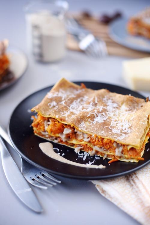 Lasagne de carottes et patates douces à la béchamel de ...